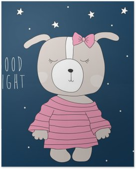 Poster Chien mignon pyjama illustration vectorielle