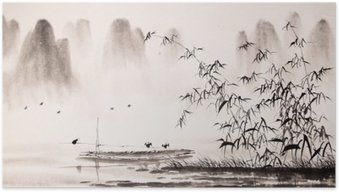 Poster Chinese inkt schilderij landschap