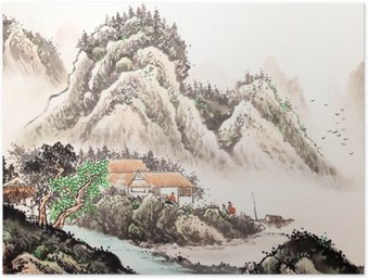 Poster Chinese landschap aquarel painting__