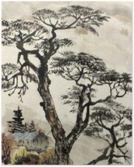 Poster Chinese landschap met een boom