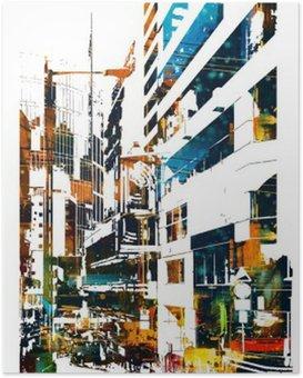 Póster Ciudad moderna urbana, pintura ilustración