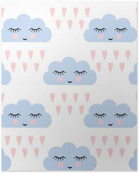 Poster Clouds motif. Seamless avec sourire dormir nuages et des coeurs pour des vacances d'enfants. Cute baby douche vector background. le style de dessin des enfants nuages pluvieux dans l'amour illustration vectorielle.