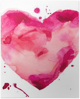 Poster Coeur d'aquarelle. Concept - l'amour, les relations, l'art, la peinture