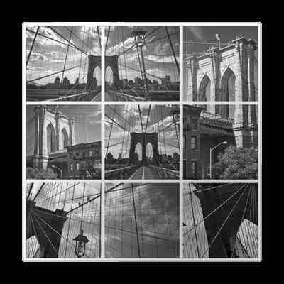 poster collage pont de brooklyn noir et blanc new york usa pixers vi lever f r f r ndring. Black Bedroom Furniture Sets. Home Design Ideas