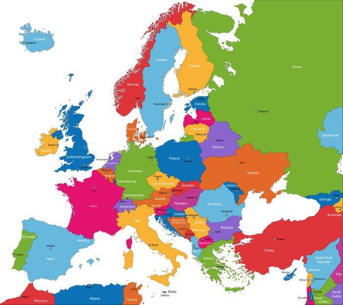 Pster Colorido mapa de Europa con los pases y sus capitales