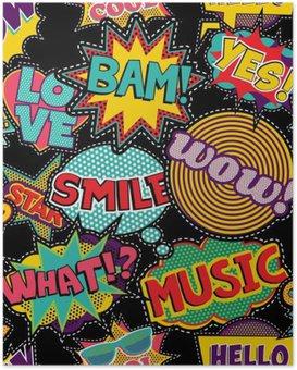 Poster Comic pop art steek patch naadloos patroon