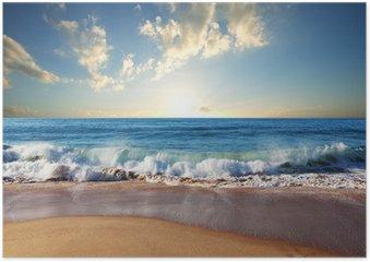Poster Coucher de soleil à la plage