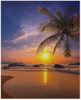 Poster Coucher de soleil sur la mer. Province Khao Lak en Thaïlande