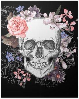 Poster Crâne et fleurs jour des morts