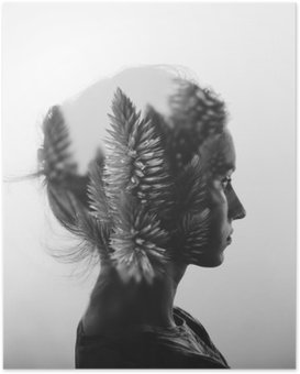 Creative double exposure with portrait of young girl and flowers, monochrome Poster