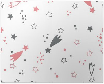 Cute seamless pattern with stars. Space background Poster
