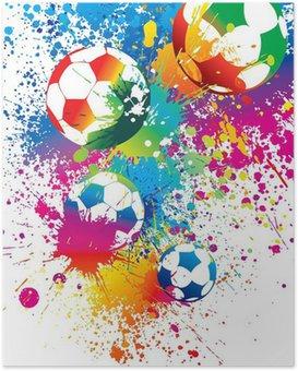 Poster De kleurrijke voetballen op een witte achtergrond