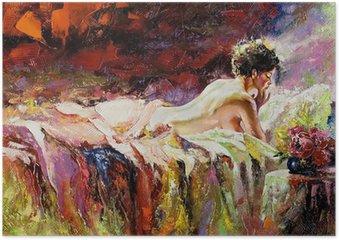 Poster De naakte meisje tot op een bed