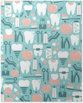 Dental Care Graphics on Blue Background Poster