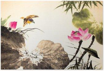 Poster Dessiné la peinture de lotus d'encre main