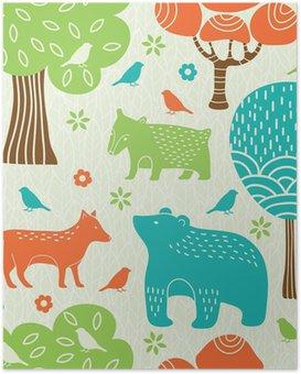 Poster Dieren in het bos naadloze patroon