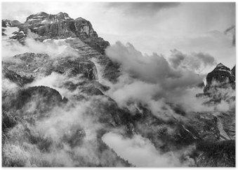 Póster Dolomitas Montañas Blanco y Negro