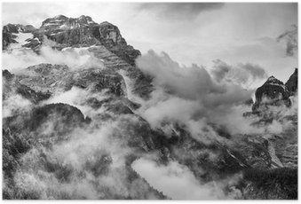 Poster Dolomiterna Berg Svartvitt