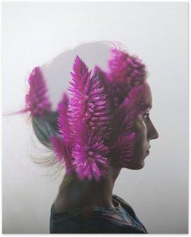 Poster Double exposition Creative avec le portrait de la jeune fille et des fleurs