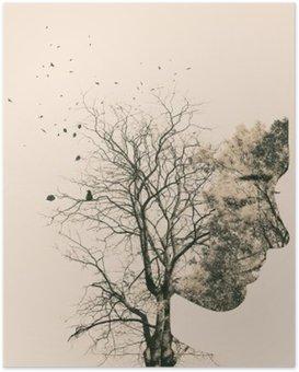 Poster Double portrait d'exposition des jeunes femme et arbres de l'automne.