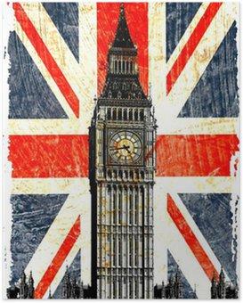 Poster Drapeau anglais big ben verticale