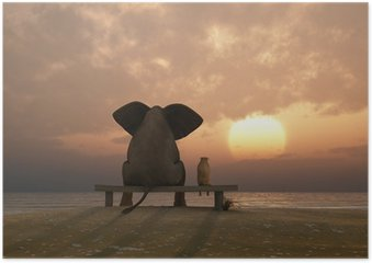 elephant and dog sit on a summer beach Poster
