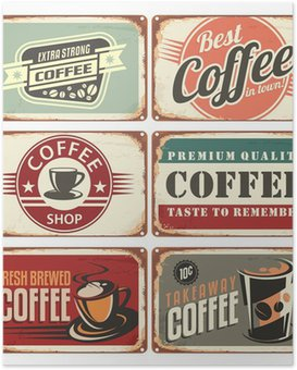 Poster Ensemble de signes d'étain de café cru