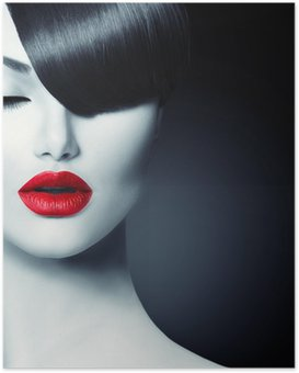 Fashion Glamour Beauty Girl With Trendy Fringe Hairstyle Poster