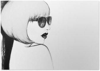 Poster Femme avec des lunettes. illustration d'aquarelle