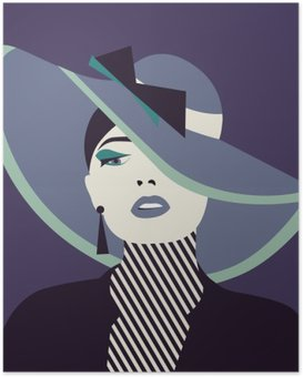 Poster Femme sexy stylisé avec cabane