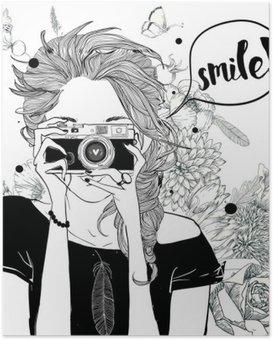 Poster Fille mignonne de bande dessinée
