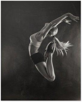 Poster Fitness kvinnlig kvinna med muskulös kropp hoppning.