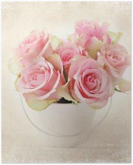 Poster Fleurs. roses roses dans un vase