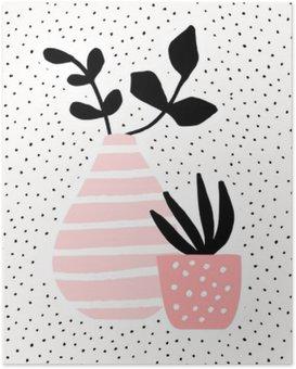 Póster Florero de color rosa y la olla con plantas