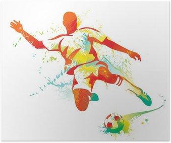 Poster Football joueur botte le ballon. Vector illustration.