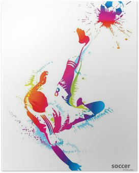 Poster Football joueur botte le ballon
