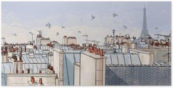 Póster Francia - París tejados