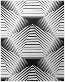 Poster Géométrique monochrome stripy seamless, noir et blanc ve