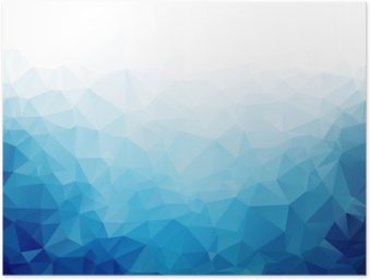 Poster Geometrische blauwe ijs textuur achtergrond