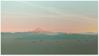 Poster Geometrische Mountain Landschap met Gradient Sky