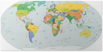 Global political map of the world, vector Poster