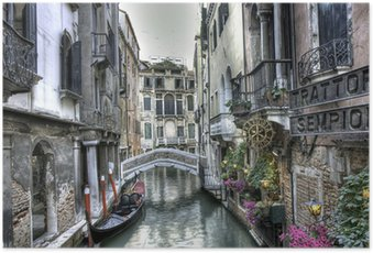 Poster Gondel, Palazzi und Brücke, Venedig, Italien