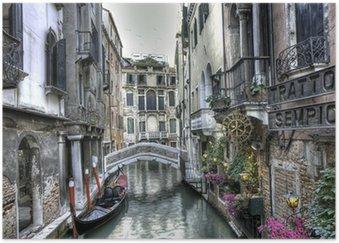 Gondel, Palazzi und Bruecke, Venedig, Italien Poster