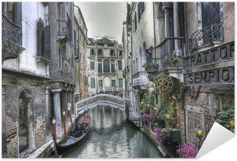 Poster Gondola, byggnader och bro, Venedig, Italien
