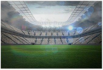 Poster Grand stade de football avec des lumières