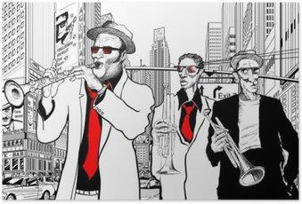Poster Groupe de jazz dans une rue de New-York