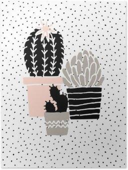 Poster Hand Drawn Cactus affisch
