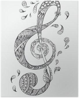 Poster Hand-drawn clé de la musique avec des ornements ethniques motif doodle. Vector illustration Henna Mandala Zentangle stylisé pour le livre de couverture ou de la carte, tatouage plus. Conception pour la relaxation spirituelle pour les adultes.