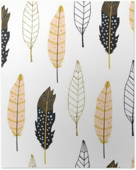 Hand Drawn Feathers Seamless Pattern Poster