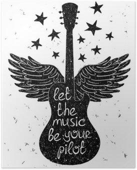 Poster Hand drawn illustration musicale avec des silhouettes de guitare.